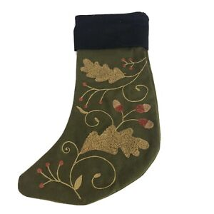 Woodland Christmas Stocking Olive Wool Acorn and Leaves Embroidery Cannon Falls