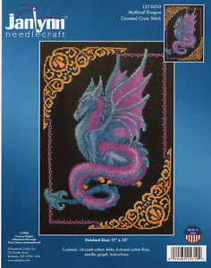 Mythical Dragon Counted Cross Stitch Kit Blue and Purple Dragon