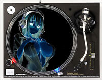 ANIME HEADPHONE GIRL NEGATIVE - DJ SLIPMAT for any turntable or record player