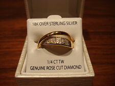 MACY'S STERLING SILVER 1/4 CARAT TW CROSSOVER MCR9281 DIAMOND RING SIZE 7 - NEW