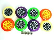 2 x YAK 100mm SCOOTER WHEELS  86a Free Mal Precision BEARINGS - FREE DELIVERY