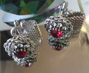Cufflinks - Ruby and Braided Silver-Toned Metal Work