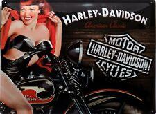 PLAQUE METAL vintage HARLEY DAVIDSON pin up - 40 x 30 cm