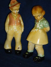 Vintage old GERMAN BOY & GIRL chalkware figurines made by Coventry Ware