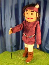 "28"" VENTRILOQUIST DUMMY PUPPET AMERICAN INDIAN BOY WITH FEATHER NEW"