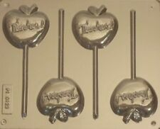 APPLE FOR TEACHER CHOCOLATE LOLLIPOP MOULD  4 CAVITY