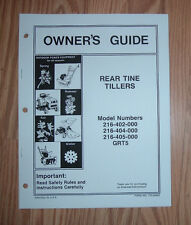 MTD 216-402-000 REAR TINE TILLER OWNERS MANUAL WITH ILLUSTRATED PARTS LIST