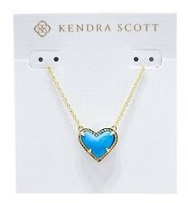 Authentic Kendra Scott 440 Gold Turquoise Magnesite Ari Heart Necklace