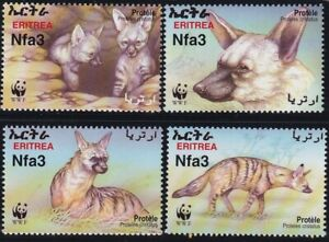 TIMBRE STAMP 4 ERITHREE Y&T#425-28 PROTELE HYENE NEUF**/MNH-MINT 2001 ~E22