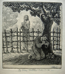 Axel Hou, etching. Jesus and the praying. New Year 1940. Assisten of Carl Bloch