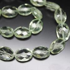 "Prasiolite Green Amethyst Faceted Oval Gemstone Loose Bead Strand 10"" 10mm 11mm"