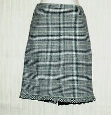 Trina Turk Multi Colored Wool Checked White Black Ruffled Pencil Hem Skirt Sz.2