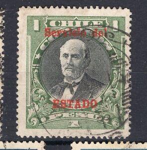 CHILE 1928 Sc.O27 1p green & black SERVICIO DEL ESTADO Pinto used NO watermark
