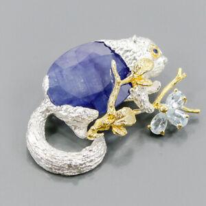 Handmade Blue Sapphire Brooch Silver 925 Sterling  /NB10684