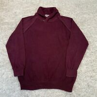 TU Mens Ribbed Jumper Large Maroon Cotton Pullover