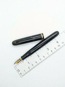 "Vtg black gt ""Monju Yoshimura"" fountain pen - 14k nib eyedropper valve"