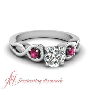 Three Stone Diamond Rings For Women With Round Cut And Pink Sapphire 1/2 Carat