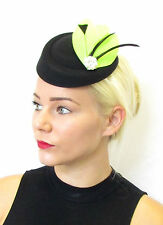 Lime Green Black Feather Pillbox Hat Fascinator Headpiece Races Hair Vintage 436