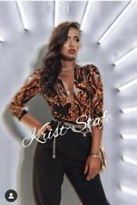 ZARA CROSSOVER Scarf Baroque Gold Multi PRINT Top Shirt Blouse BODYSUIT S 8