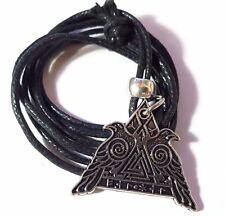 Odin's Ravens Hugin Munin Rune Pendant & Cord Necklace Valhalla Amulet Norse  d4