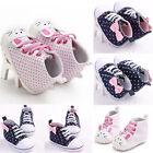 Newborn Baby Girls Canvas Crib Shoes Soft Sole Pram Prewalker Anti-slip Sneakers