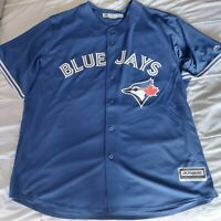 Majestic Mens Navy Blue Toronto Blue Jays Baseball MLB Front Button Jersey
