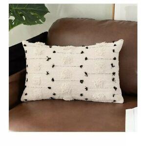 2 x Farmhouse Throw Pillow Cushion Lumbar Tribal Cream Neutral Couch 12x20