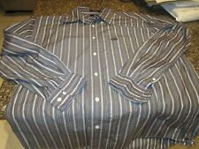 Facconable Long Sleeve Button Down Shirt - Brown/Blue - Large