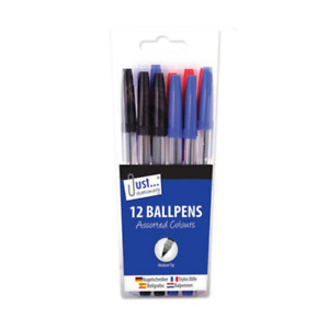 12 x Packet of Office School Ball Point Pens, Black Blue and Red Biros Mixed