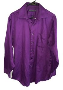 GEOFFREY BEENE Button Up Fitted Purple Dress Shirt Men's Size 16.5 x 34-35 Large