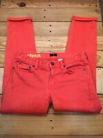 J Crew Toothpick 26 Ankle Salmon Denim Stretch Skinny Jeans