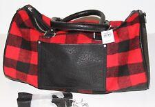 NWT! ABERCROMBIE Womens Duffle Bag Weekender Travel Gym Bag XL Red Plaid