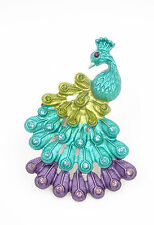 One New Peacock Cocktail Stretch Ring with Rhinestones #R1196