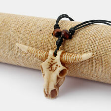 1Pcs Wax Cord Yak Bone Resin Cow/Bull Skull Pendant Adjustable Necklace Surfer