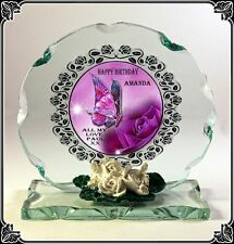 Personalised Cut Crystal Glass BIRTHDAY plaque Special Gift  Keepsake female  7