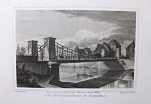 Bamberg, Ludwigsbrücke. Grafik, Stich, Stahlstich von J.Poppel 1846