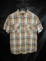 Prana Size L Brown Blue Green Plaid Shirt Short Sleeve Button Mens Lrg Athletic