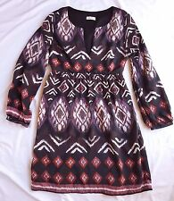 AS NEW Bebe Sydney Size 12 Silk Dress Print Purple Long Sleeve Boho Gypset Luxe