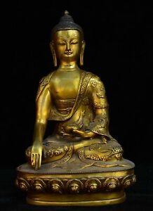 """12"""" China Tibet Buddhism Copper Gilt Sakyamuni Shakyamuni Amitabha Buddha Statue"""