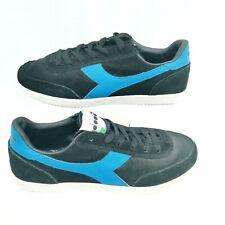 Mens Diadora Jasper Trainers Size 8 Black Blue Suede Lo Top Lace Classic casual
