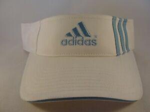 Vintage Adidas Golf Tennis Adjustable Strap Visor Hat White Blue