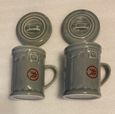 2 VINTAGE Waste Management Garbage Can Mug Trash Bin Cups with Lids USA Made