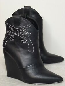 WINDSOR SMITH 'Coltt' Womens Black Wedge Heel Ankle Boots RARE EUC Size 5