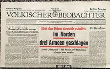 Genuine September 17 1941 Volkischer Beobachter Nazi Germany Newspaper