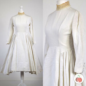 STUNNING! 1950s VINTAGE CLASSIC, WHITE, CROCHET LACE COLLAR, FULL-CIRCLE DRESS 8
