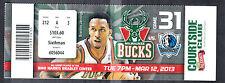 Milwaukee Bucks vs Dallas Mavericks March 12 2013 Unused Ticket Brandon Jennings