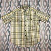 Ascend Men's Button Down Short Sleeve Shirt Plaid Classic Fit Size Small