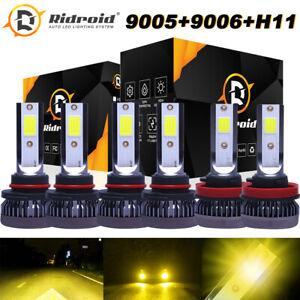 6PCS Mini 9005 9006 H11 Combo LED Headlights Bulb Kit Hi-Low Beam 3000K Yellow