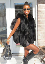 New Designer Unique black fox tails Fur Vest Sleeveless coat S-M 0-10