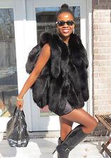New Designer Unique black fox tails Fur Vest Sleeveless coat S-M 0-10